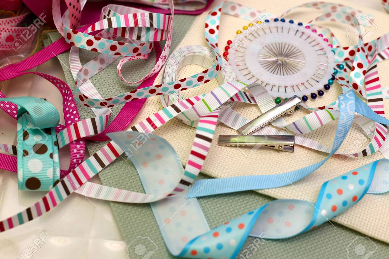 Scrapbook Ribbon With Decoration Stock Photo Picture And Royalty