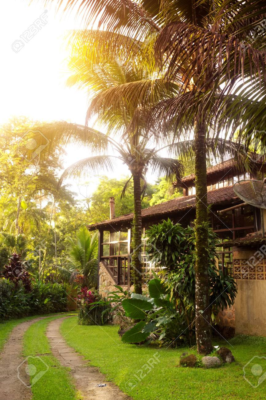 Brazil Traditional House. Path Along The House And Palm Trees In The Garden,  Brasil