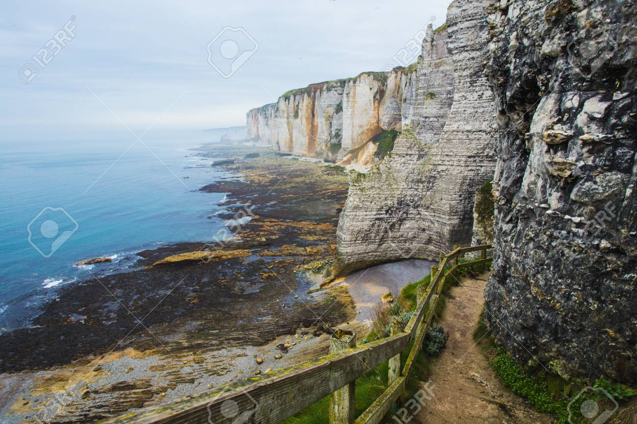 Beautiful Cliffs Of Etretat Normandy France Stock Photo Picture