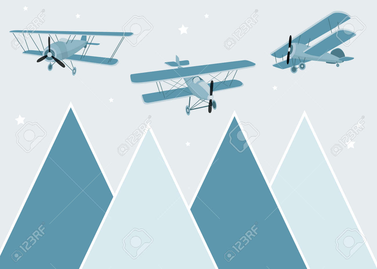Vector color children hand drawn mountain, aircraft, plane and clouds illustration in scandinavian style. Mountain landscape. Childrens wallpaper. Mountainscape, childrens room design, wall decor. - 169317772