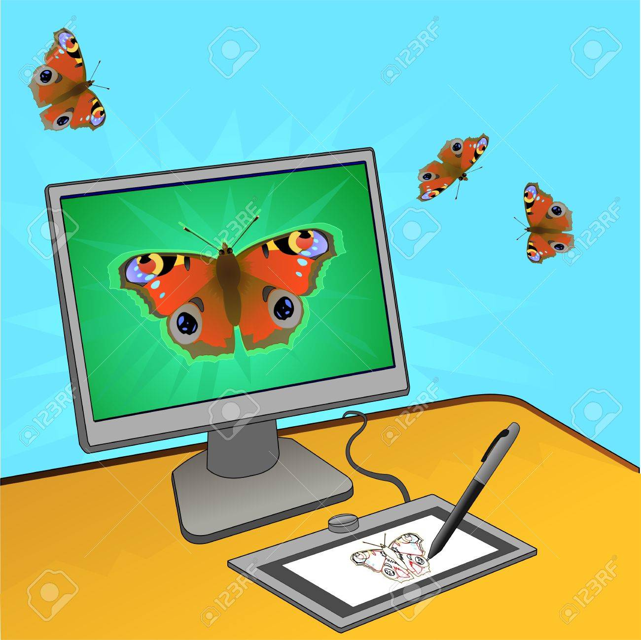 butterfly computer design on illustrator work place illustration