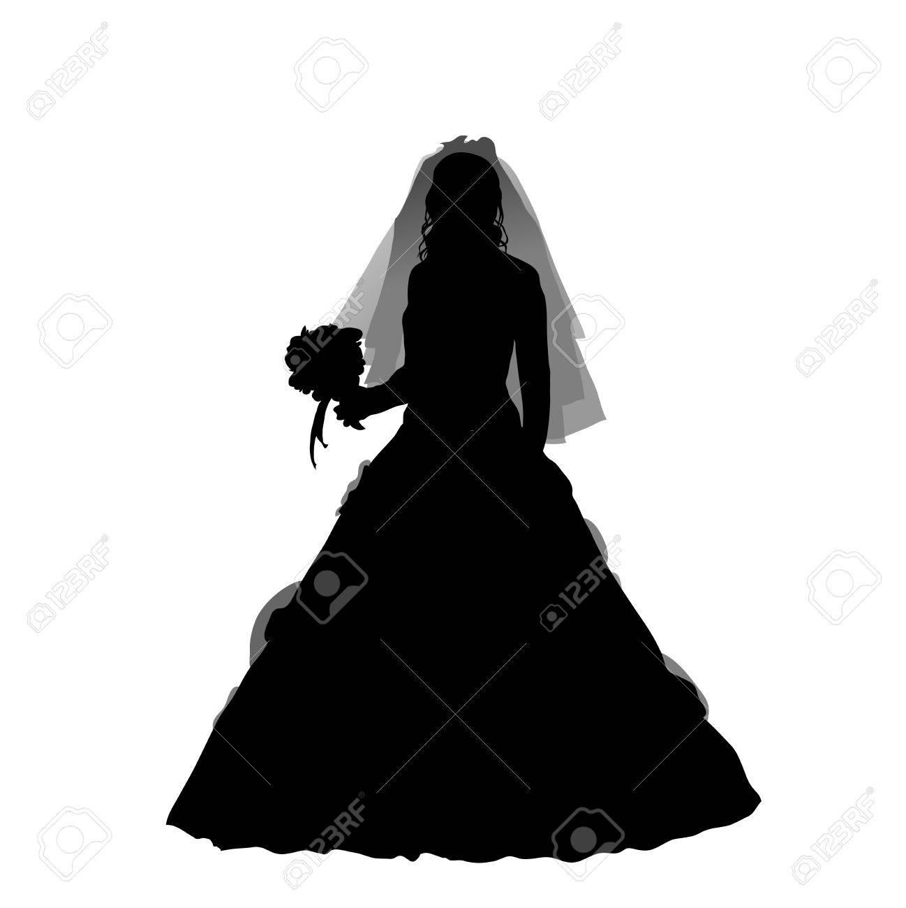 bride silhouette on the white background, vector illustration Stock Vector - 9757259