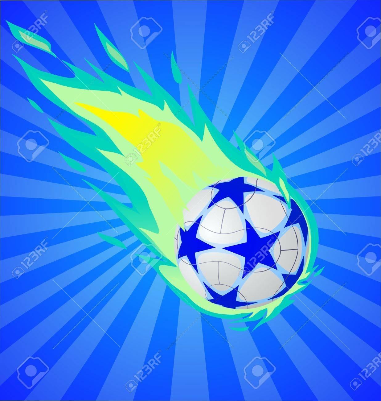 Balón De Fútbol Ardiente Sobre El Fondo Azul 7dddd43136d24