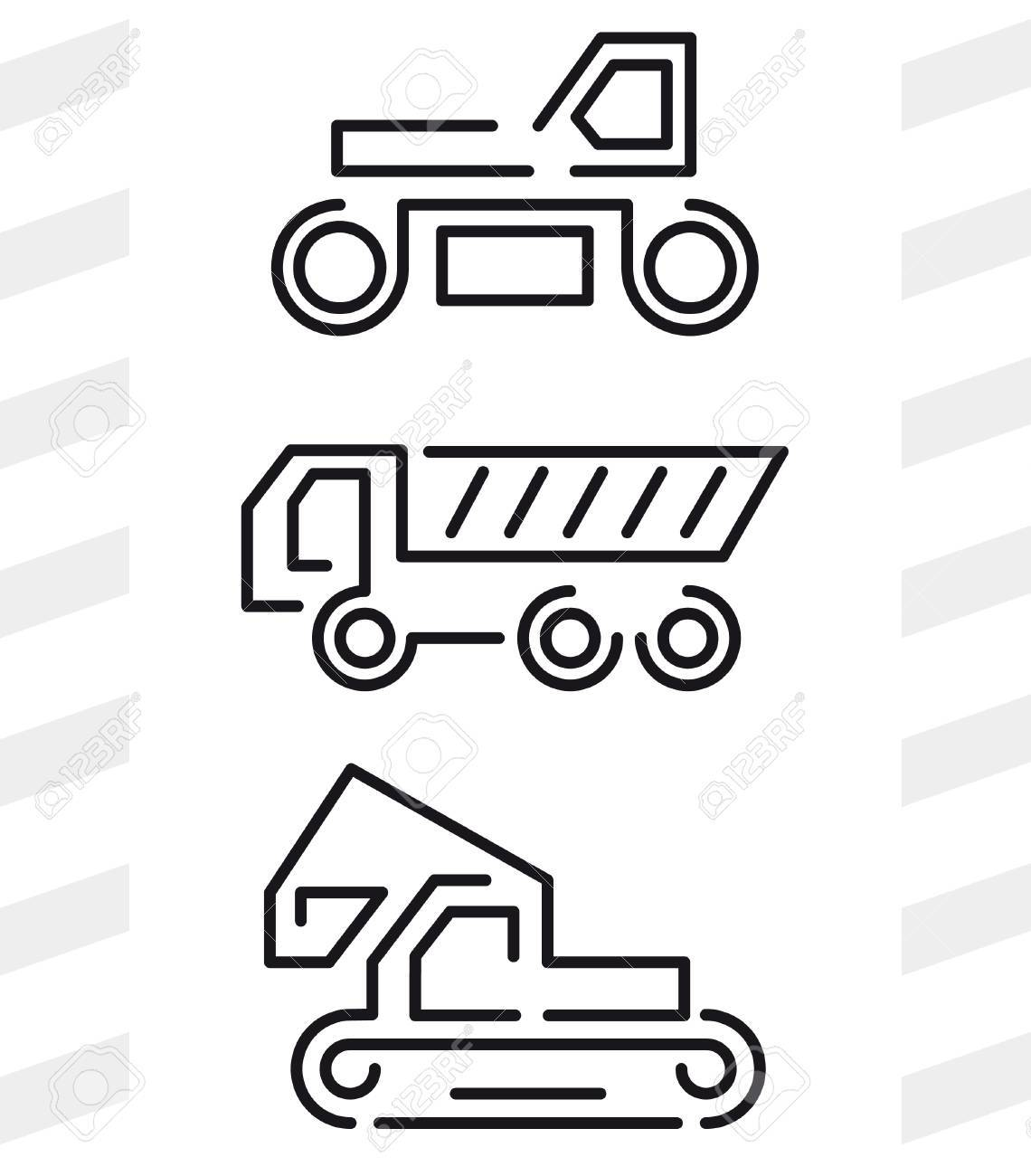 Road Construction Machinery Icons Set Of Three Machines Rink