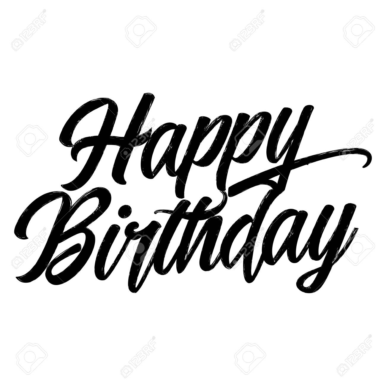 Happy Birthday Hand Drawn Typography Poster Conceptual Handwritten
