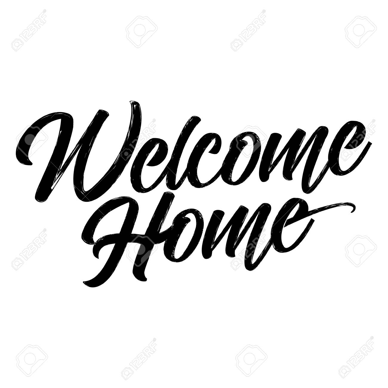 Welcome Home - Hand drawn typography poster  Conceptual handwritten
