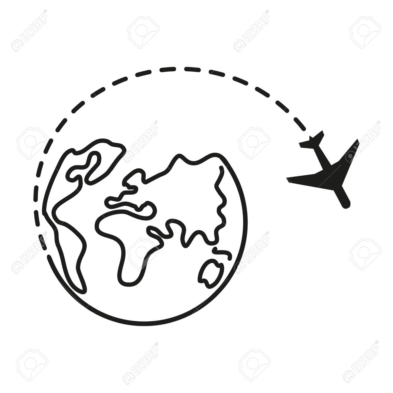 Global traveling travel around the World. Airplane fly around the planet Earth. Logo. Black line Globe with flying plane icon isolated on white background. Airplane fly around the planet earth. - 146364553