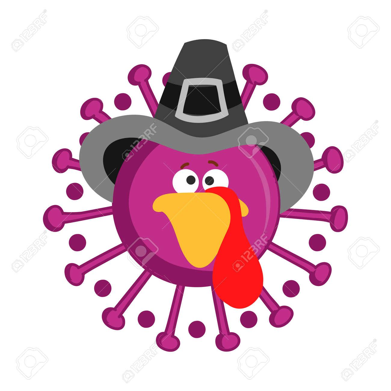 Thanksgiving 2020 turkey face coronavirus - Awareness illustration. Coronavirus (2019-nCoV) Concept of self isolation times. Covid-19 souvenir - 158617460