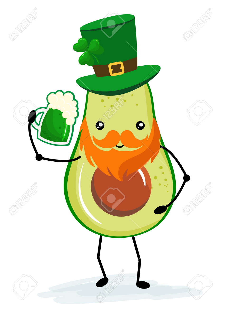 Leprechaun avocado with beer - funny St Patrik's Day kawaii character design with green avocado on white background. Good for posters, flyers, t-shirts, cards, invitations, stickers, banners, gifts. - 165833260