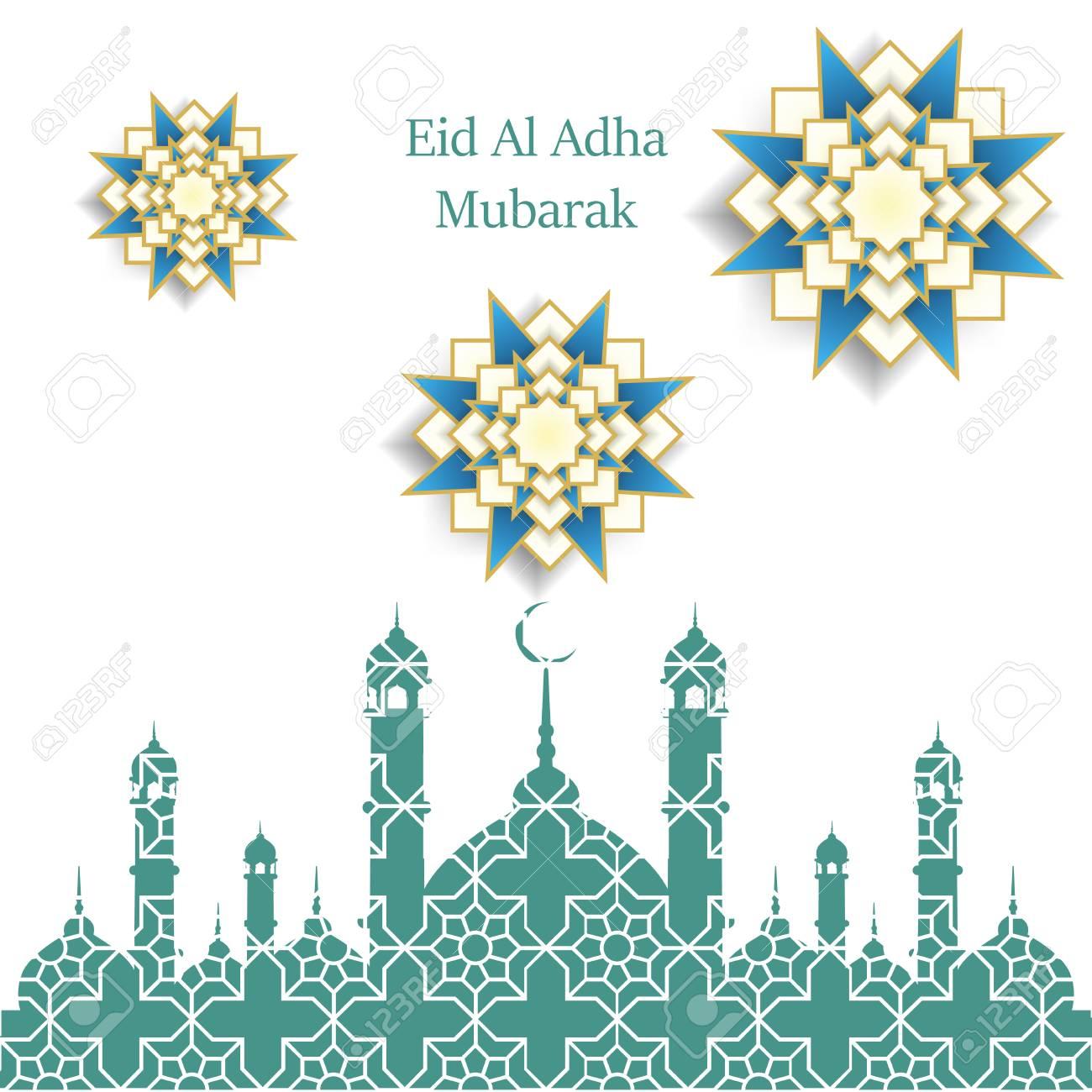 Islamic Festival Of Sacrifice, Eid Al Adha Mubarak Greeting Card ...
