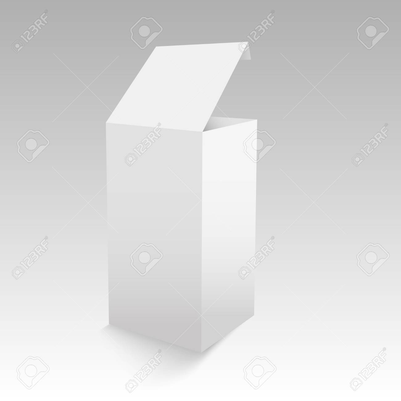 White Opened Cardboard Box Template. Royalty Free Cliparts, Vectors ...