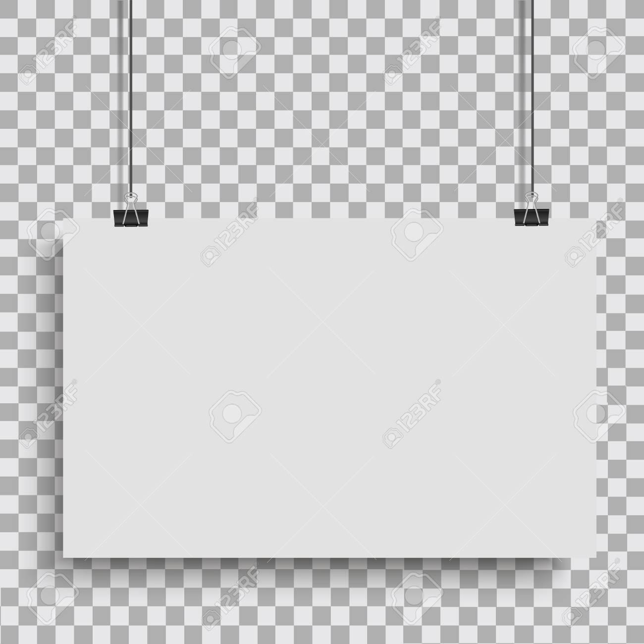 White Poster Hanging On Binder Transparent Background With Mock