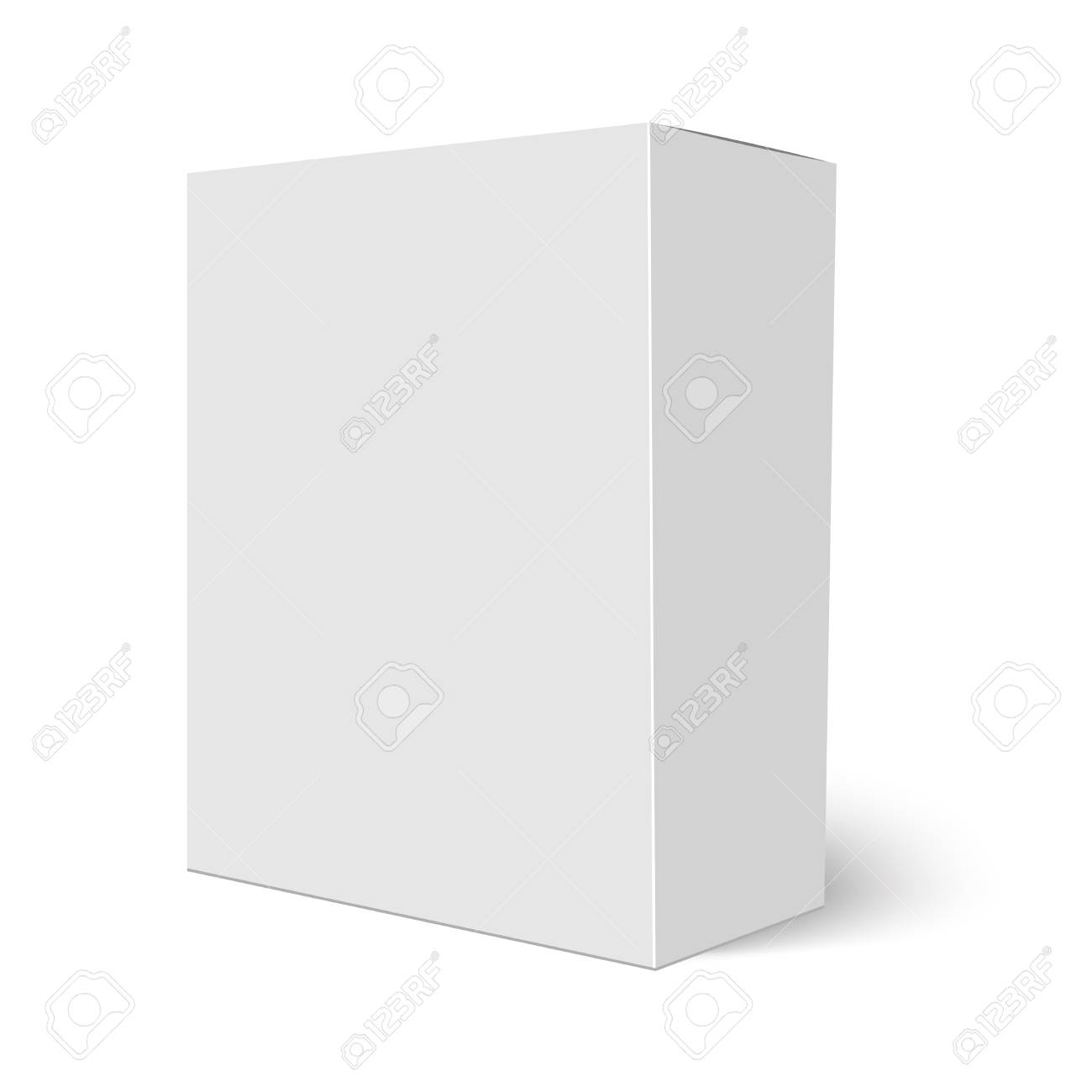 Blank vertical paper box template standing on white background Vector illustration - 90373093