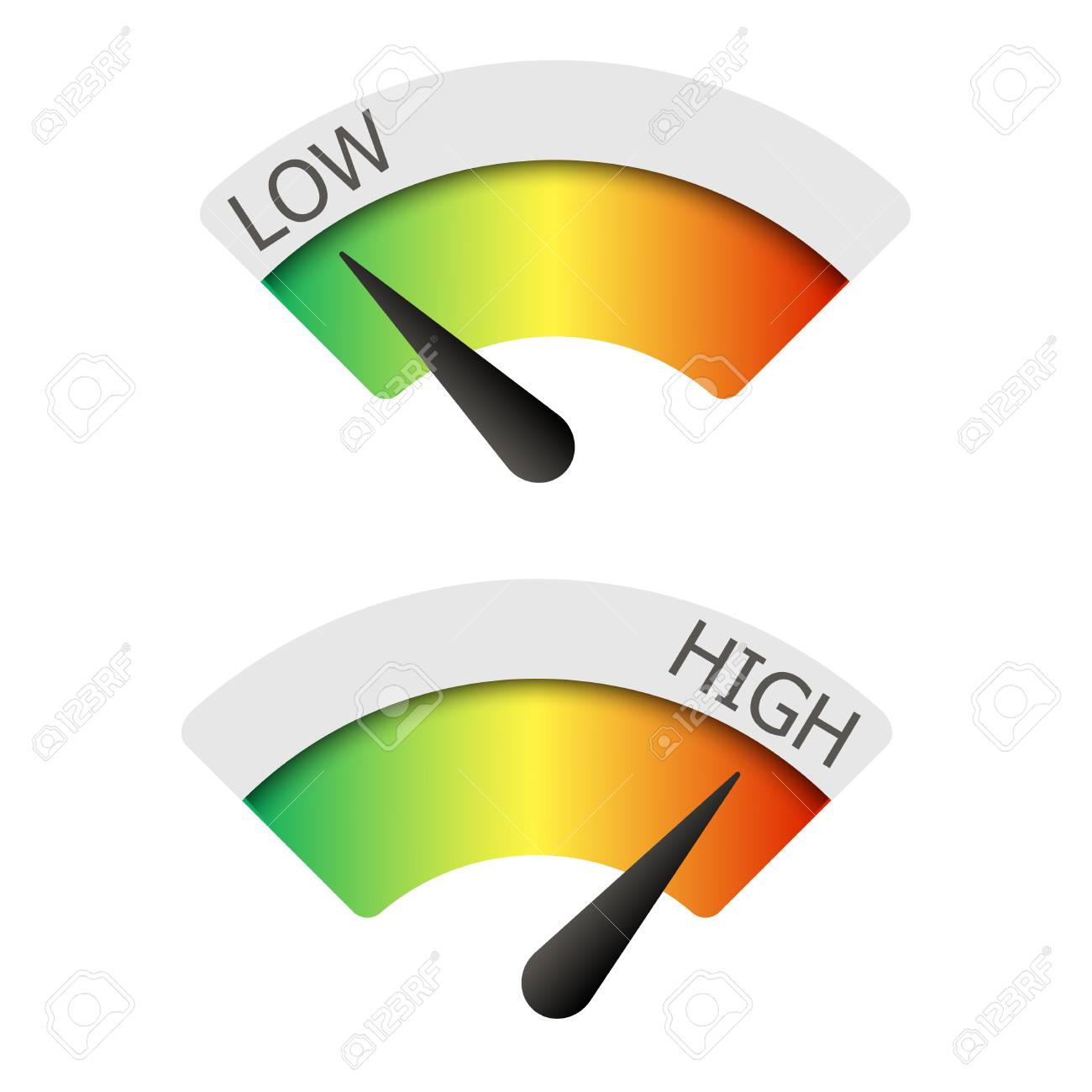 Low and High gauges. Vector illustration. - 90509034