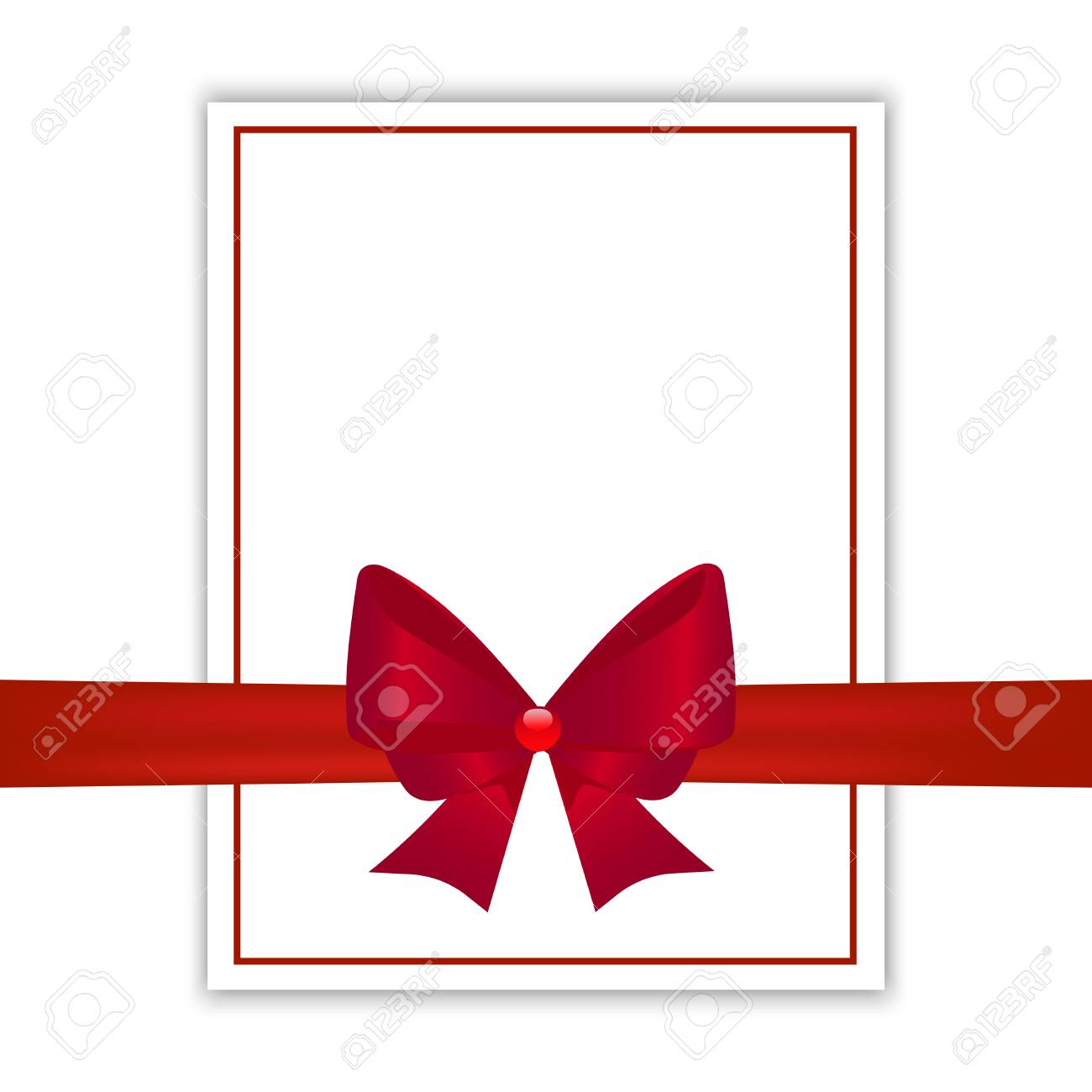 blank greeting card with red bow invitation flyer or brochure rh 123rf com