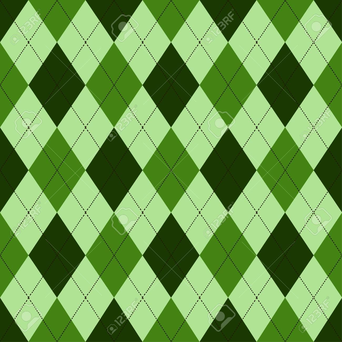 Patron De Rombos Inconsutil En Tonos De Verde Con Puntada Blanca - Tonos-verde