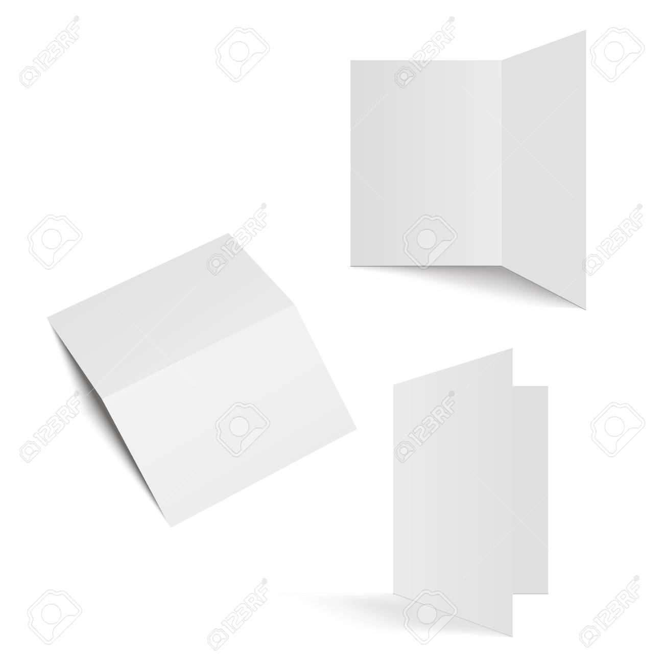 Half-fold brochure blank white template for mock up and presentation