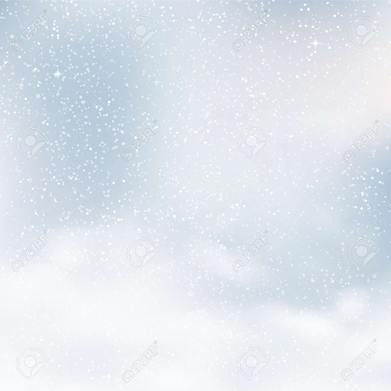 Blurred Christmas background with snowflakes and blue sky. Vector. - 126855062