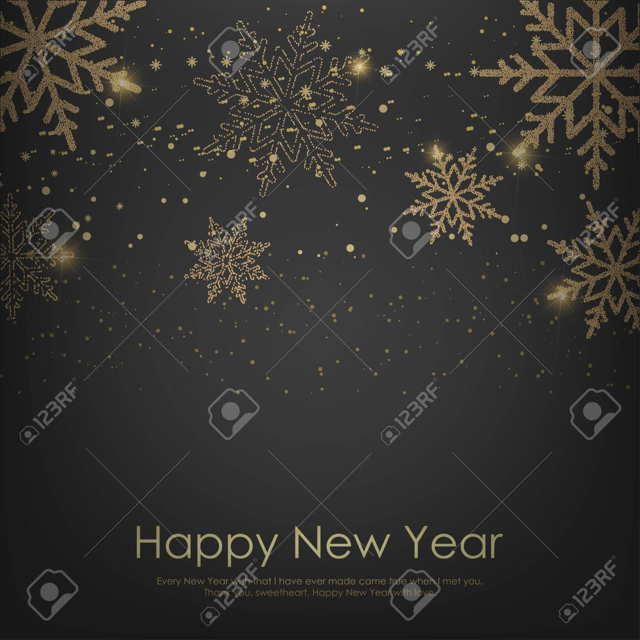 Happy New Year or Christmas card with falling golden snowflakes. Vector. - 131003932