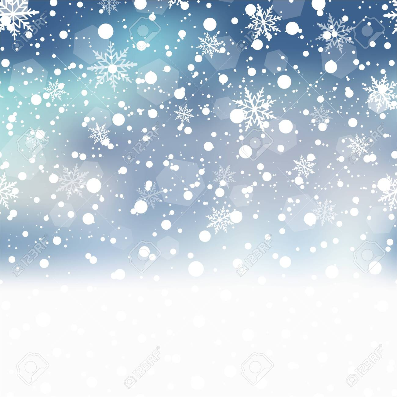 Christmas background with falling snowflakes on blue sky. Vector - 135780093