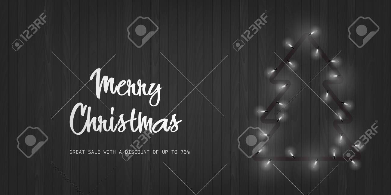 Merry Christmas and Happy New Year card with Xmas tree from lights on wooden background. Vector - 136202140