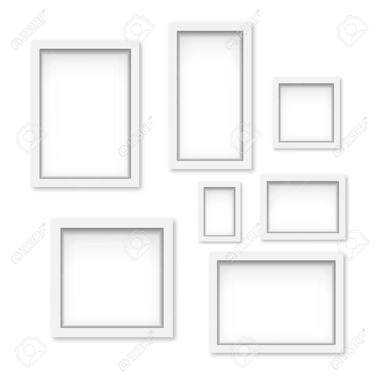 Set of white wooden photo frames with soft shadow. Vector - 153142009