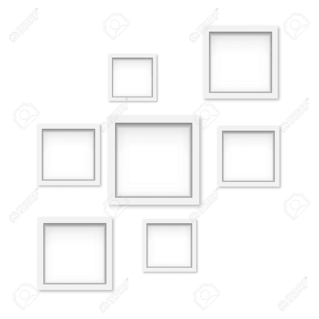 Set of white wooden photo frames with soft shadow. Vector - 153142001