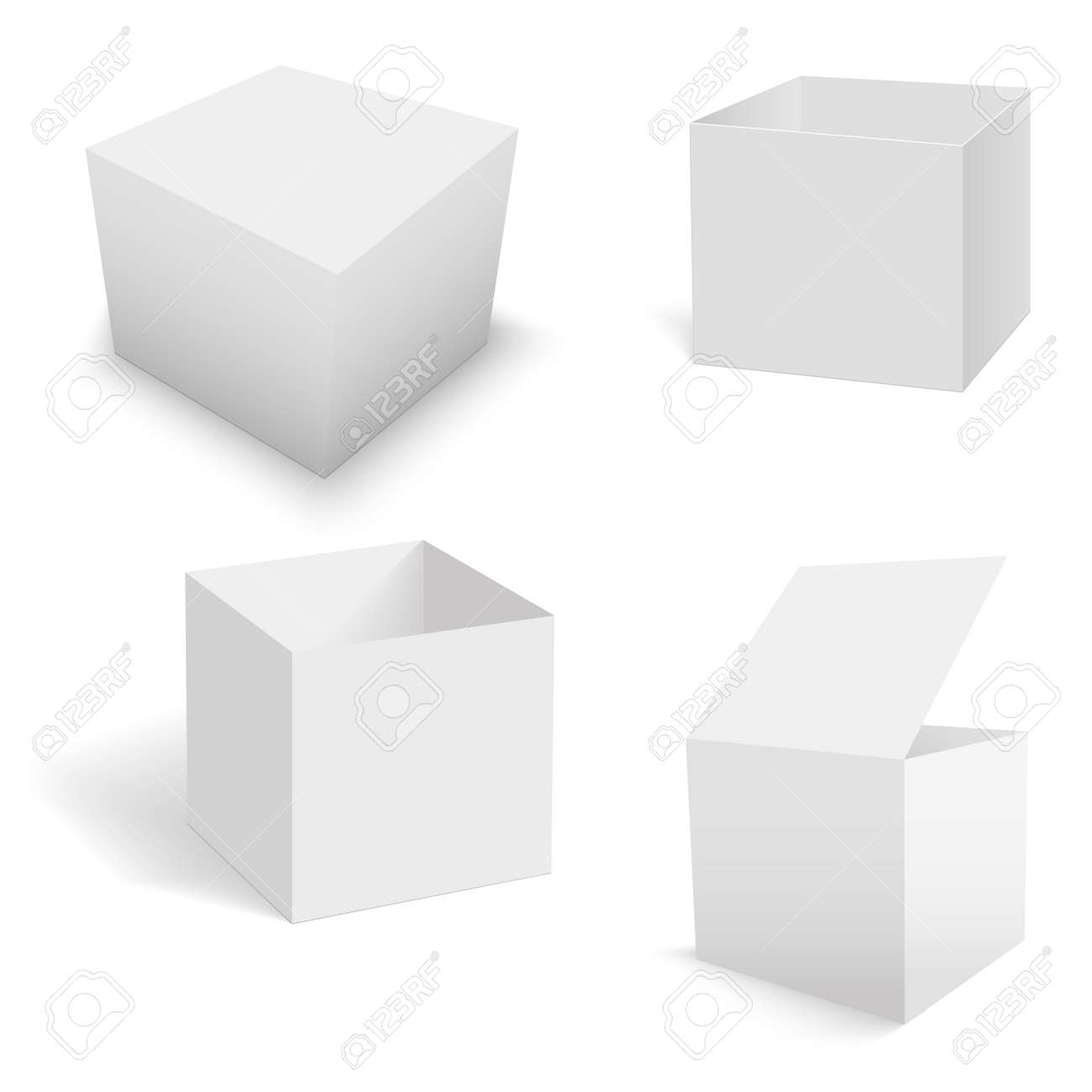 Set of white square boxes templates. Vector - 158808675