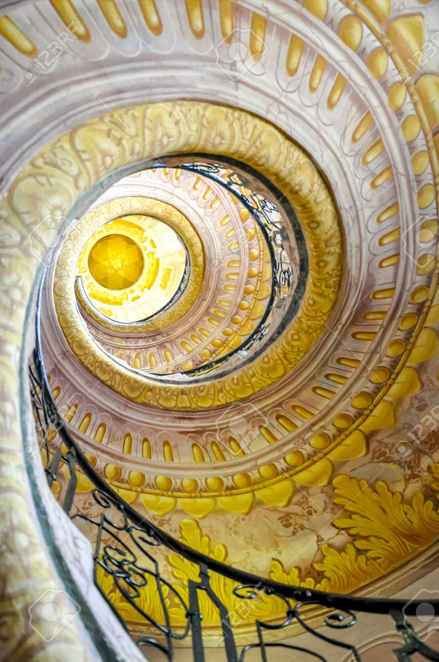 Staircase Between The Library And Church In Melk Abbey, Lower Austria.  Stock Photo