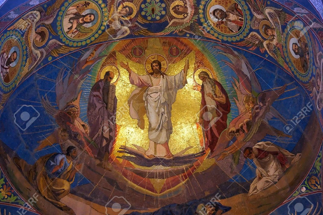 Jesus Christ mosaic in orthodox temple, Petersburg Stock Photo - 5195387
