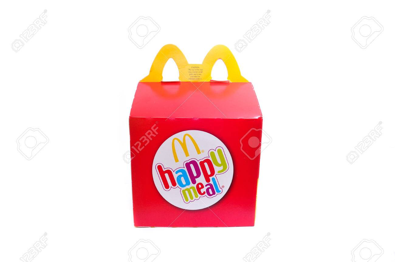 KUALA LUMPUR, MALAYSIA - APRIL 22, 2014: McDonalds Happy Meal box for kids on white background. McDonalds is the worlds biggest fast food chain. - 39009375