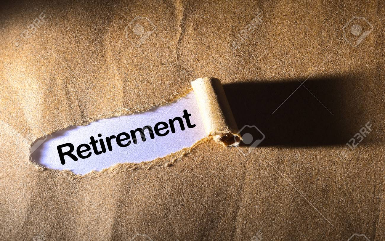 torn paper with word retirement - 46607082