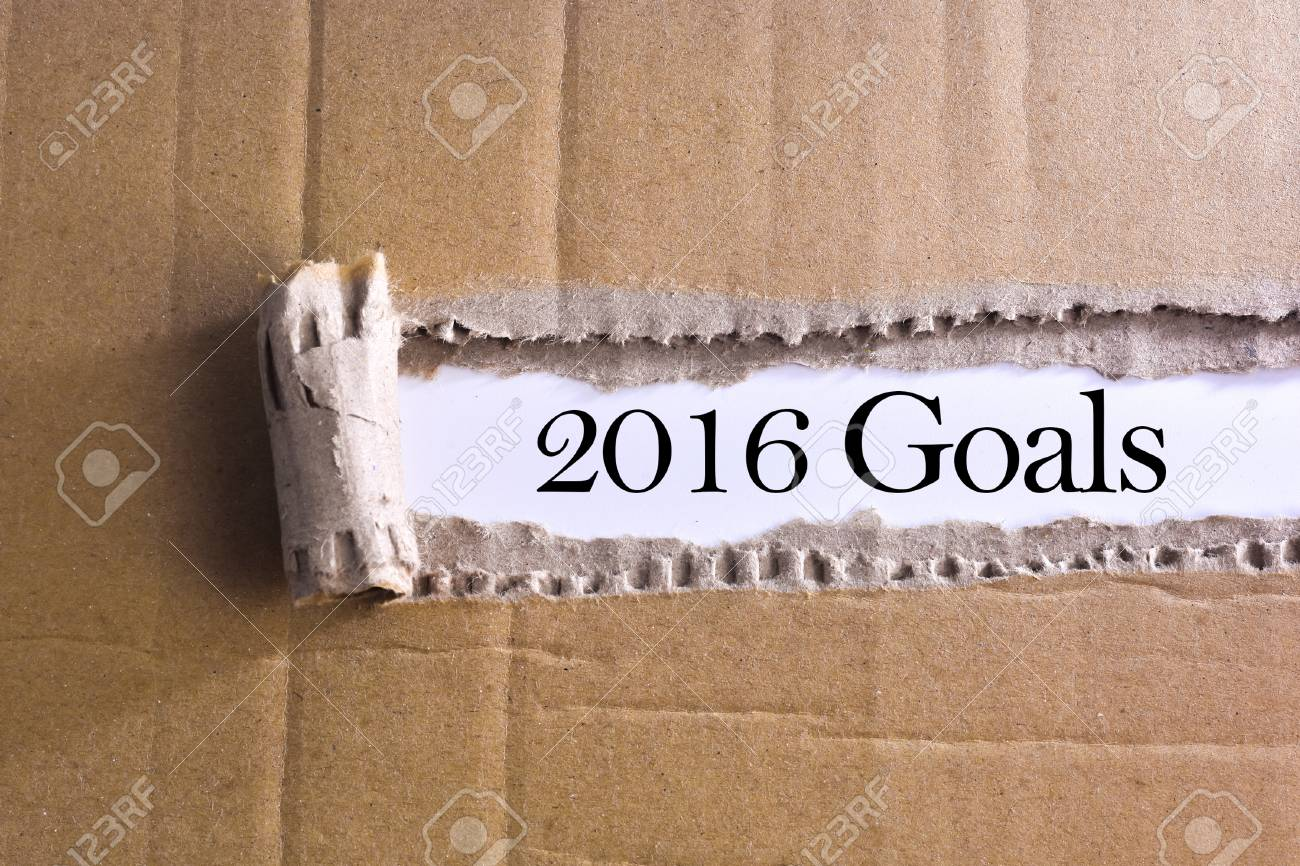 torn paper with word 2016 goals - 47352109