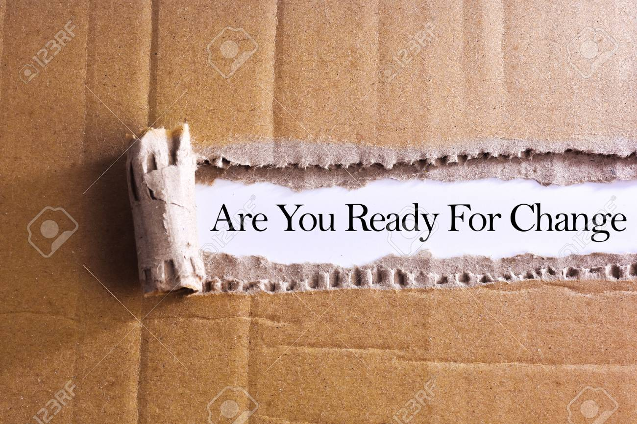 Torn paper box with word Are you ready for change - 47352110