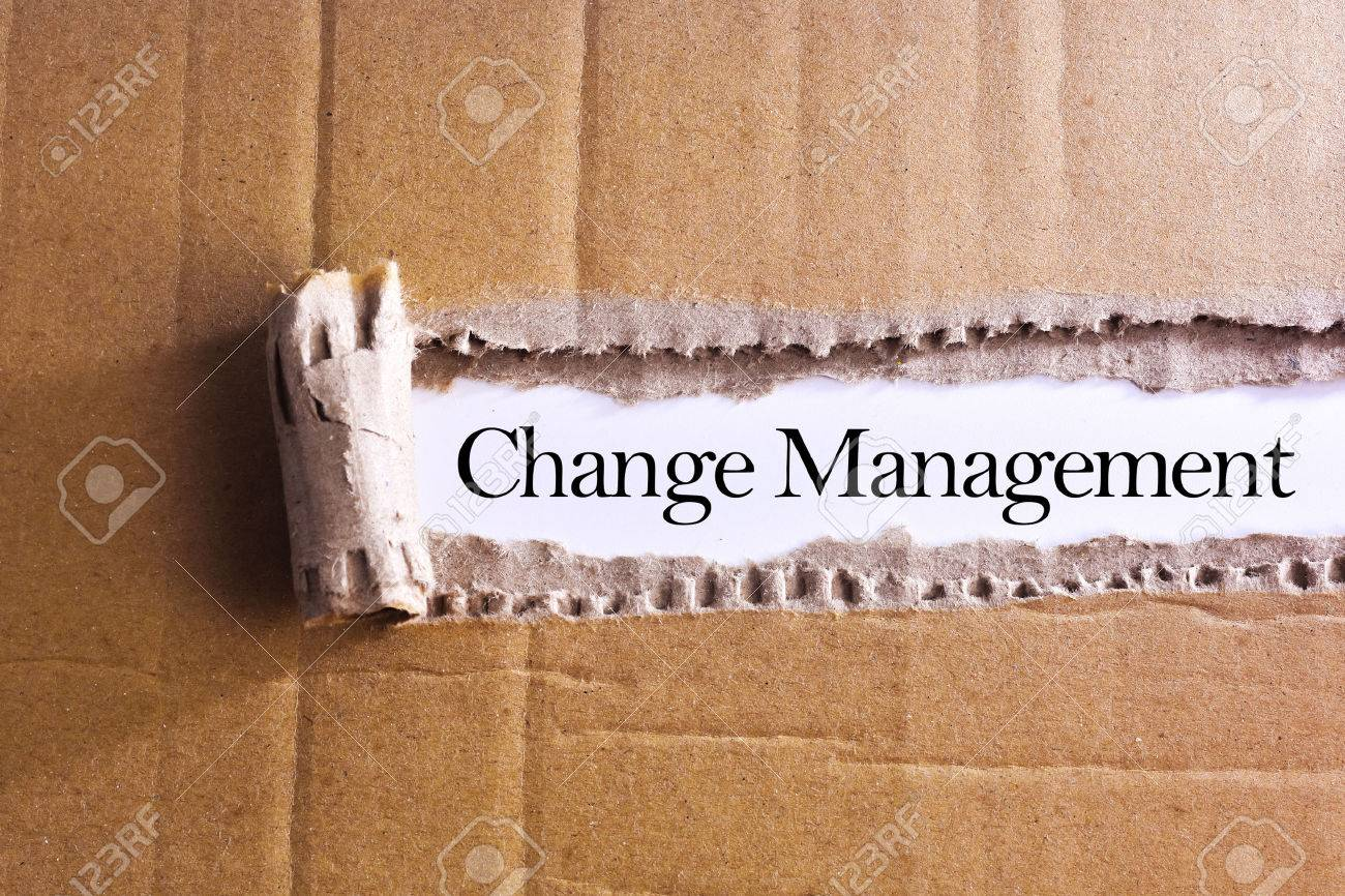 Torn paper box with word Change management - 47352264