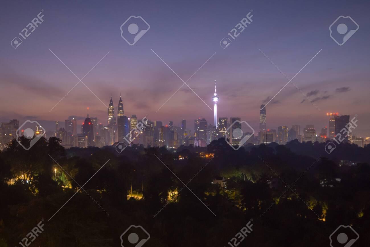 view of beautiful sunrise overlooking national landmark of Malaysia - 119349932