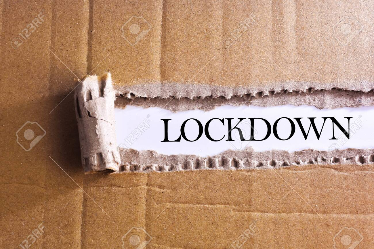 Torn paper box with word LOCKDOWN - 143214724