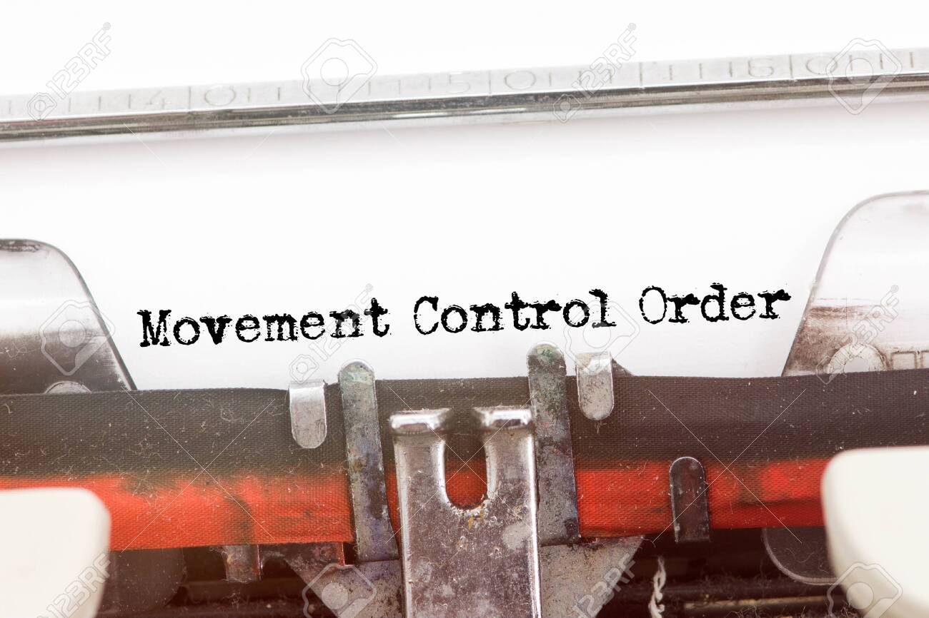 MOVEMENT CONTROL ORDER word typed on a Vintage Typewriter - 143214731
