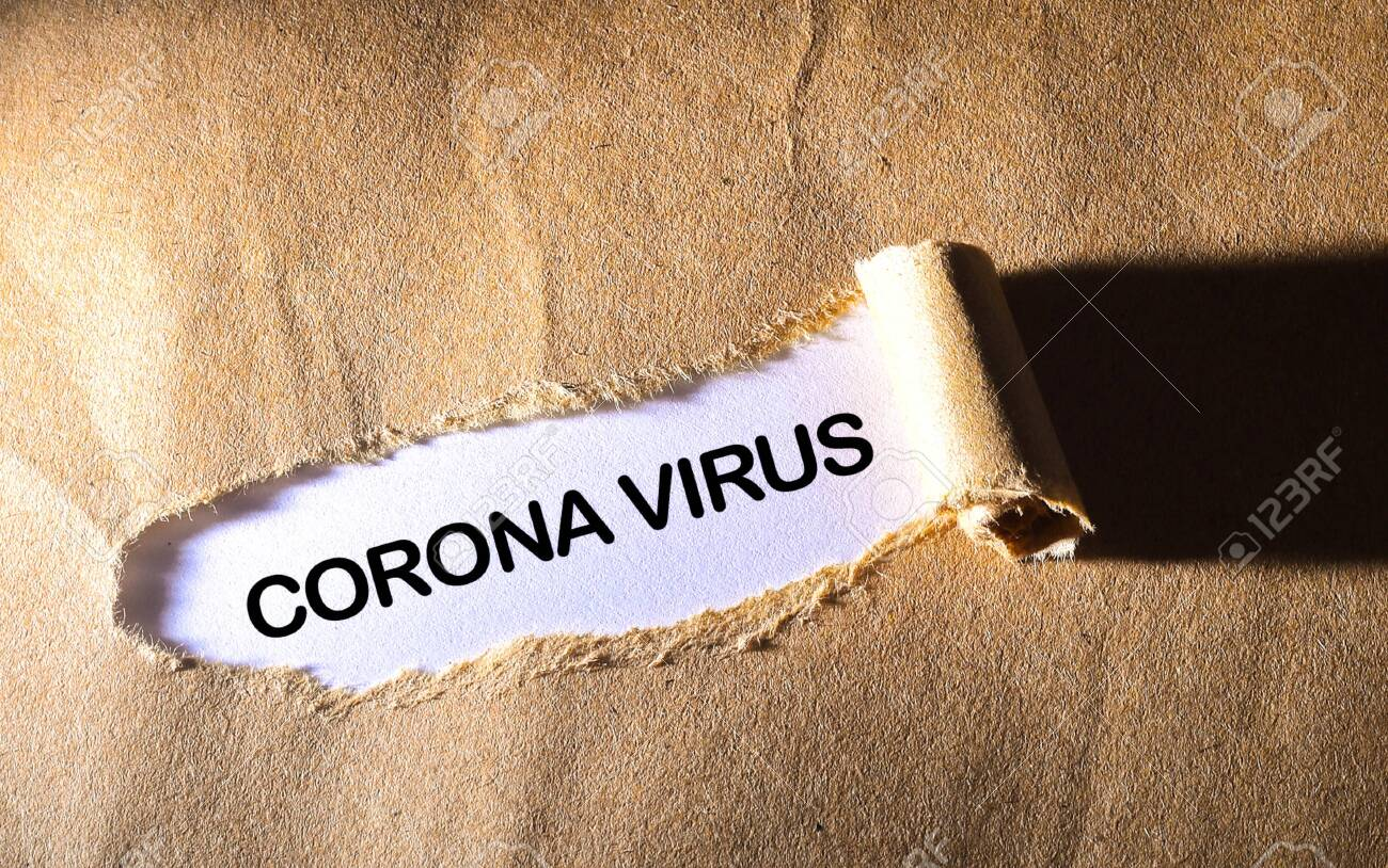 Torn paper with word CORONA VIRUS - 143214732