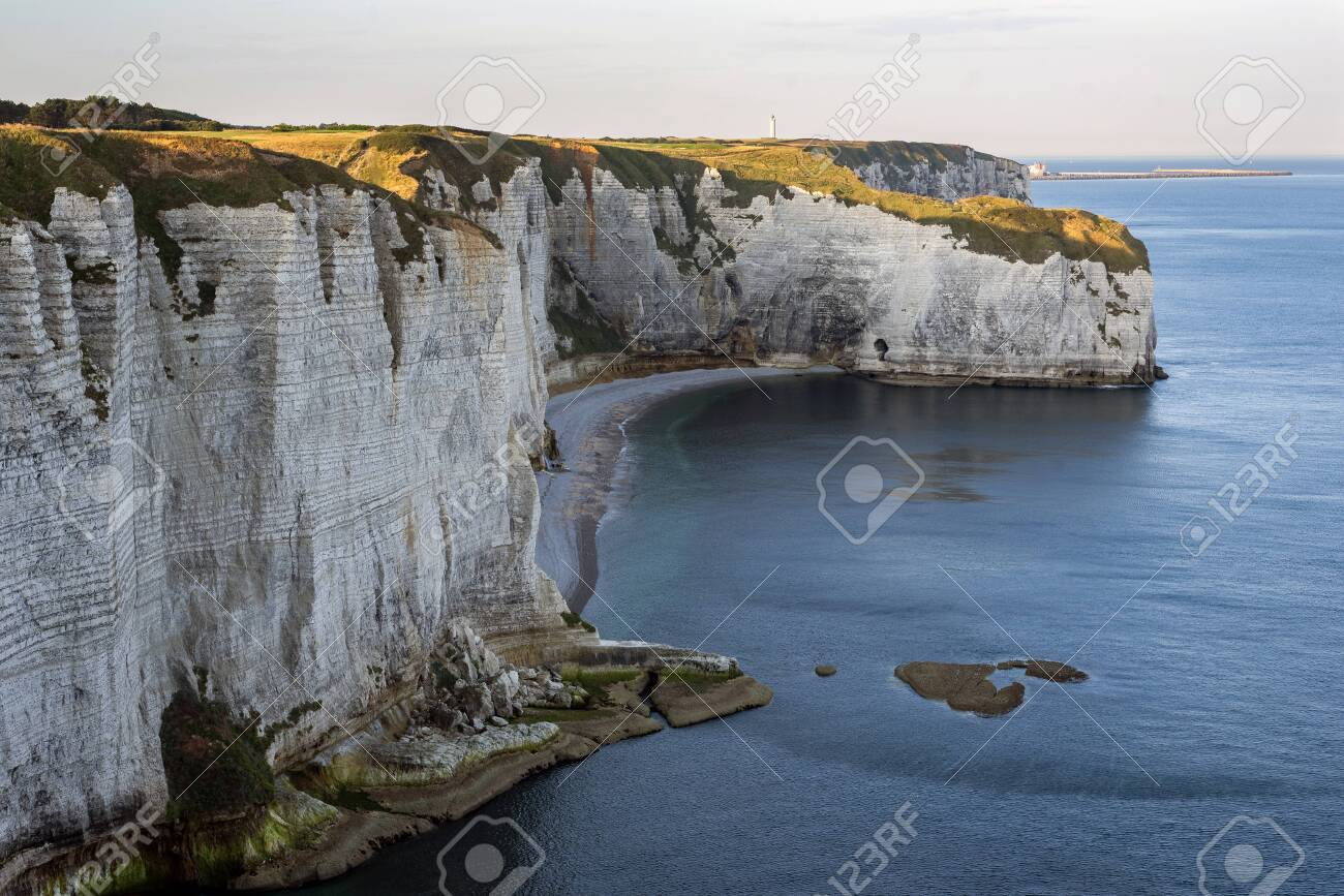 Cliffs Of Etretat Normandy North Of France Europe Stock Photo
