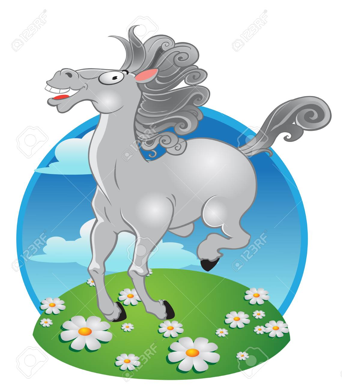 vector white horse on a color background Stock Vector - 6067711