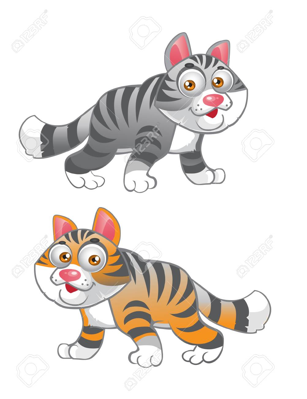 grey and red vector cats Stock Vector - 6098947