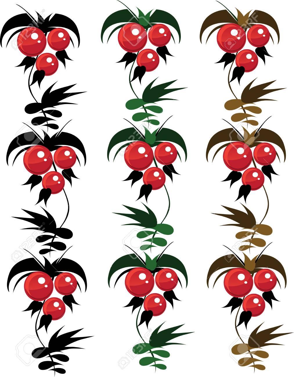 set of batch delicate ornaement berrys from granules  vector petrikovsky ornament Stock Vector - 6098939