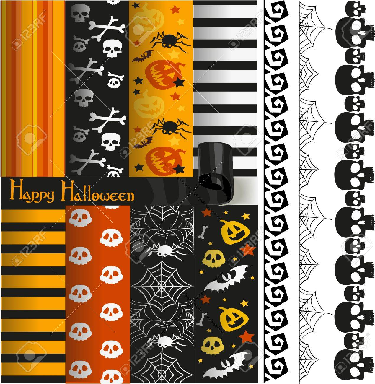 Happy Halloween paper and lace for scrapbook Stock Vector - 15113349