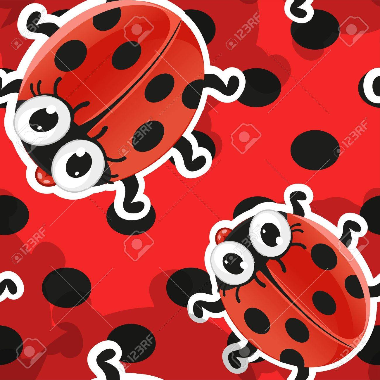 Red background with cute cartoon ladybug Stock Vector - 15113331