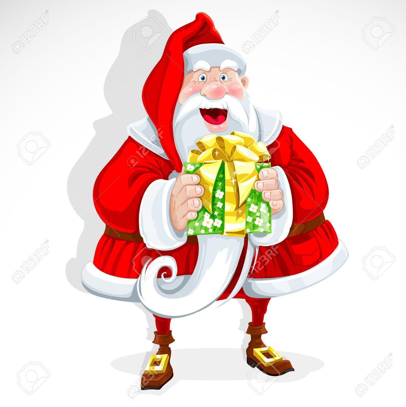 Cute Santa Claus give a gift Stock Vector - 15113396