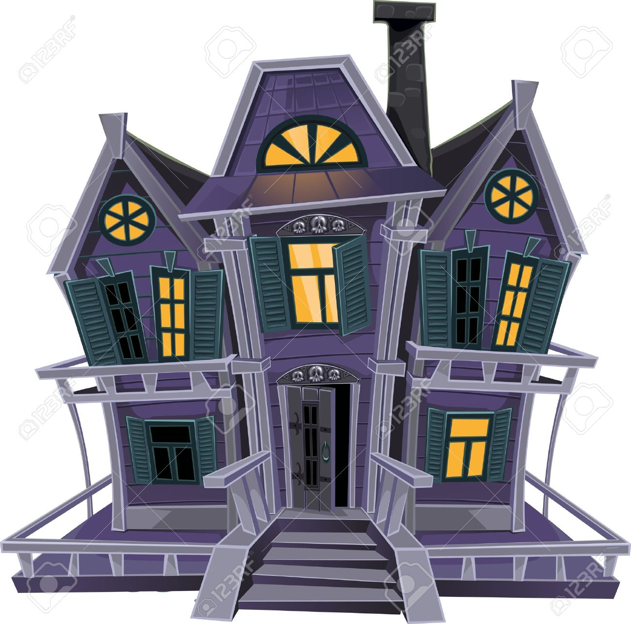 Haunted Halloween Witch House Isolated On White Background Royalty