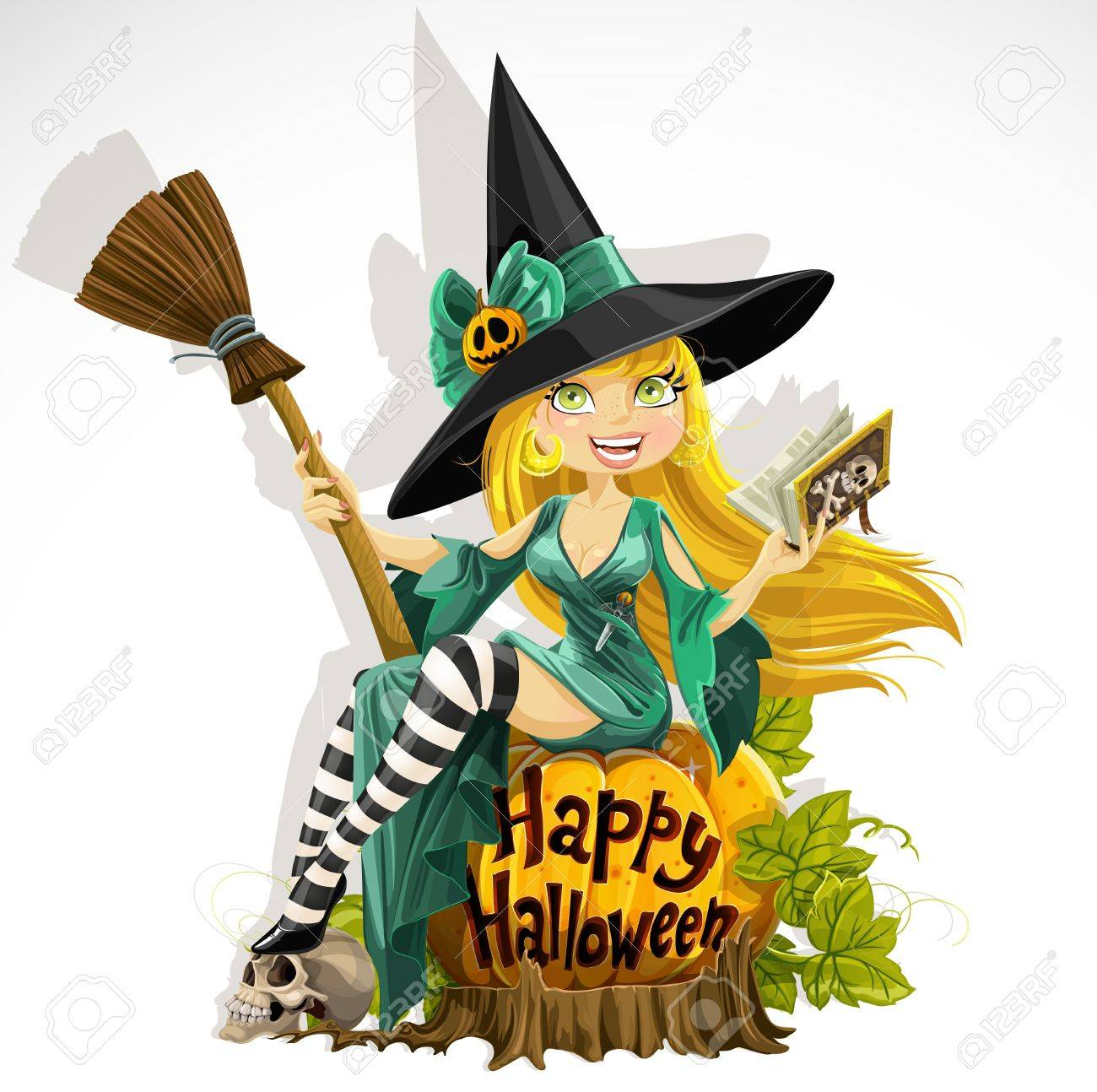 Beautiful young witch with a book and broom sitting on a pumpkin Stock Vector - 15305051