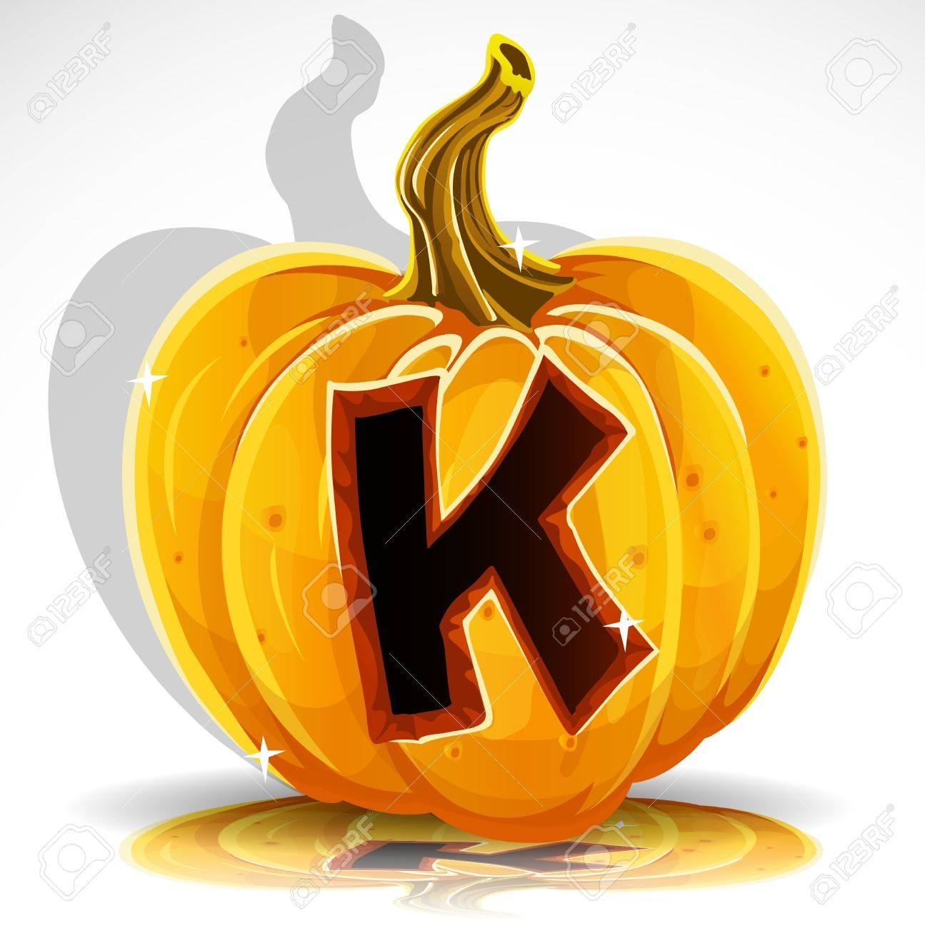 happy halloween font cut out pumpkin letter k royalty free cliparts