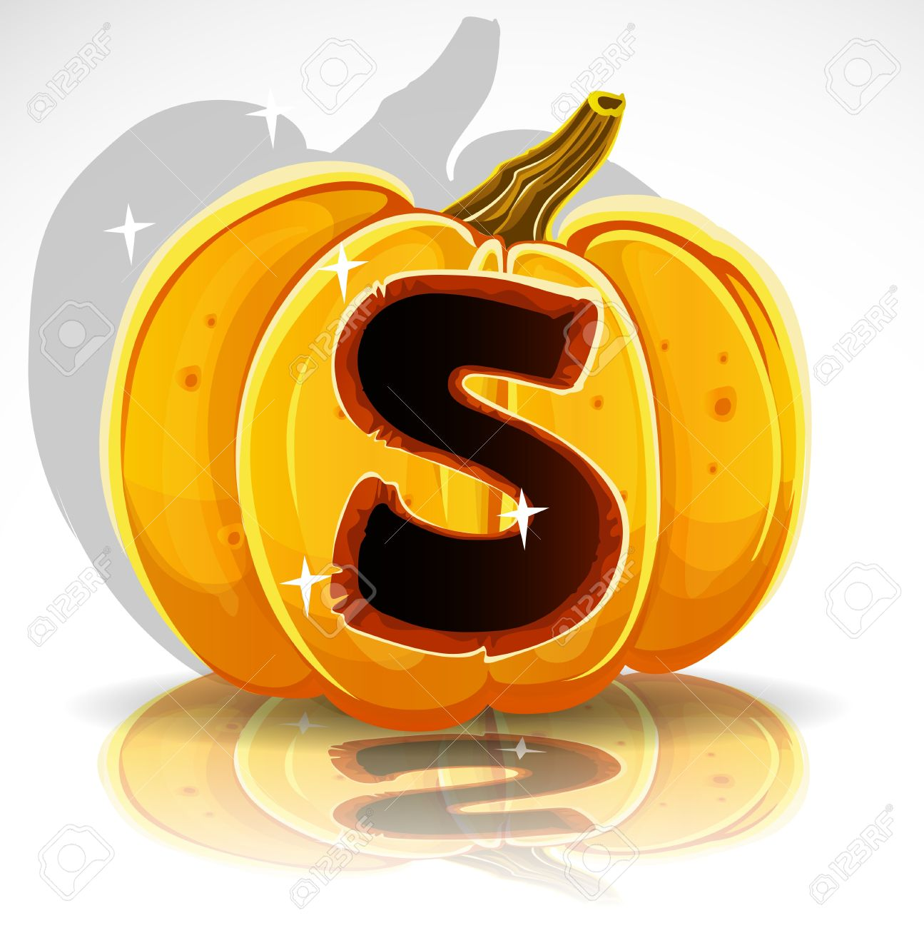 Happy Halloween Font Cut Out Pumpkin Letter S Royalty Free Cliparts